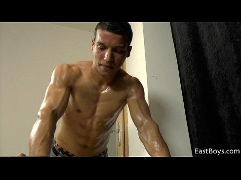 Biceps men flexing nude muscle