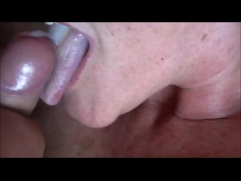 Mature cum close up mouthful